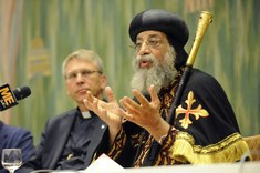 Pope Tawadros II speaks on role of Coptic Church in Egyptian society during his visit to WCC offices